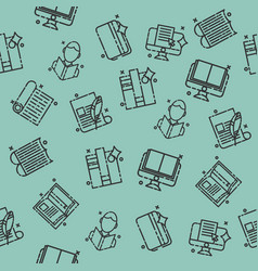 library flat icons pattern vector image
