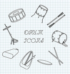 Linear drum icons on the notebook sheet in a cage vector