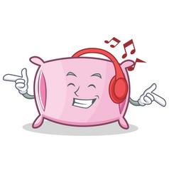 Listening music pillow character cartoon style vector