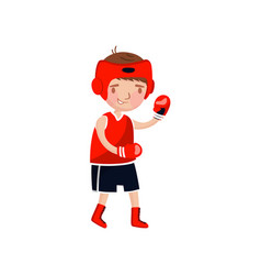 little boy boxer in red uniform and boxing gloves vector image