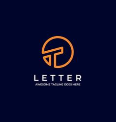 Logo circle letter t line art vector