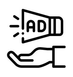 Loudspeaker hand icon outline vector