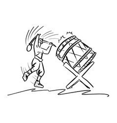 man playing traditional drum sketch vector image