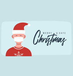 Merry and safe christmas man in santa claus hat vector