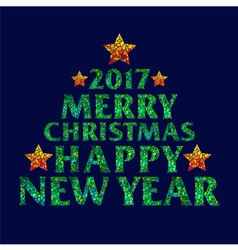 Merry Christmas 2017 Happy new year text design vector image
