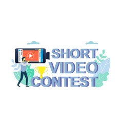 Mobile short video contest concept for web vector