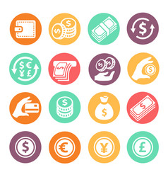 Money colored icons set coins hand credit card vector