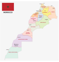 new administrative and political map morocco vector image