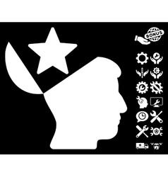 Open Head Star Icon with Tools Bonus vector