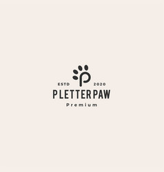p paw letter tech logo icon hipster vintage retro vector image