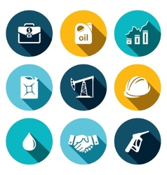Petroleum industry flat icon collection vector