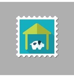 Pigsty flat stamp with long shadow vector image