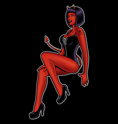 pin up girl devil vector image