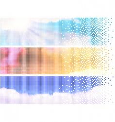 Pixelate sky banners vector