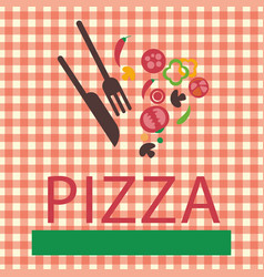 Pizza logo green bar vector