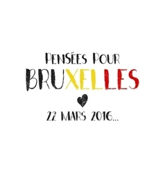 Pray for Brussels lettering with black heart vector image