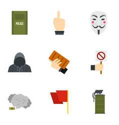 Protester item icon set flat style vector