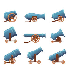 Retro cannon vintage military old iron weapons vector