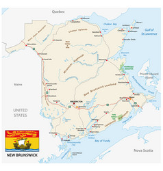 Road map with flag of the canada atlantic vector