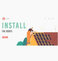 Roinstallation landing page template roofer vector