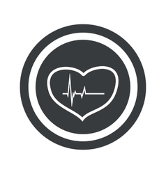 Round black cardiology sign vector image