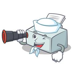 Sailor with binocular printer mascot cartoon style vector