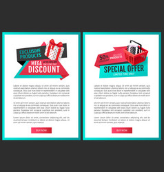 save half price sale certificates gift presents vector image