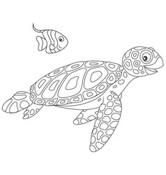 sea turtle and butterflyfish vector image