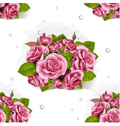 seamless pattern bouquet pink roses vector image