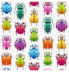 Seamless pattern with funny cartoon colorful bugs vector