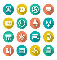 Set flat icons of ventilation and conditioning vector image