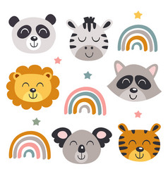 Set isolated baby animals faces and rainbows vector
