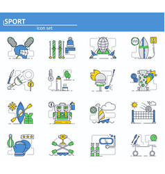 set of sport icons in thin line style vector image