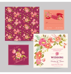 Set of Wedding Floral Invitation Cards vector image vector image