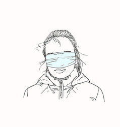 sketch teenage girl with medical mask covered vector image