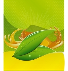 Splashes of juice over color background vector