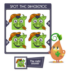 spot the difference piggy taurus vector image