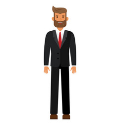standing bearded businesman in black suti cartoon vector image