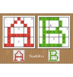 Sudoku set with answers A B letters vector image