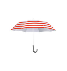 summer beach umbrella with red and white stripes vector image