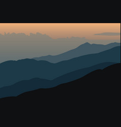 Sunset landscape with silhouettes of mountains vector