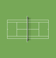 tennis court grass cover field top view vector image