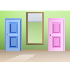 The mirror and door vector image