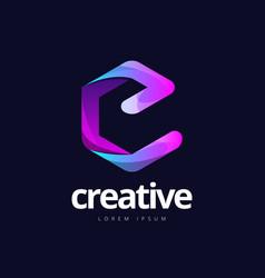 trendy letter e cube shape logo design vector image