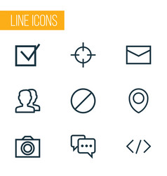 user icons line style set with forbidden note vector image