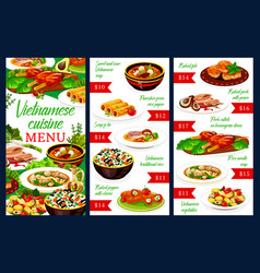 Vietnamese meat and fish dishes menu vector