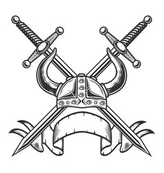 vintage viking helmet with swords and ribbon vector image