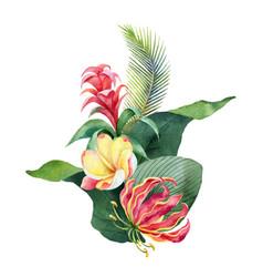 watercolor bouquet tropical leaves vector image
