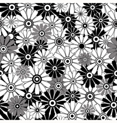 Whiteblack repeating floral pattern vector