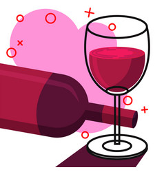 wine in glass line with white background vector image